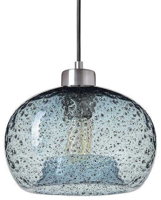 Glass Drop Ceiling Lights Rustic Hanging Light Blue Seeded Glass Brushed Nickel.