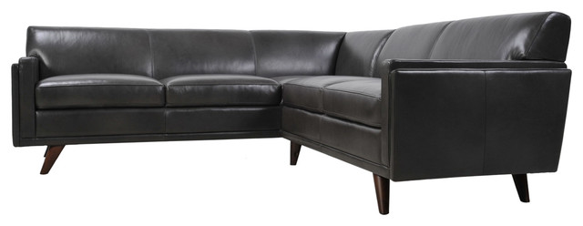 Milo Full Leather Mid Century Corner Sofa Sectional Charcoal