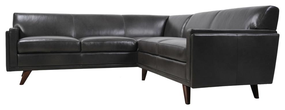 Milo Full Leather Mid Century Corner Sofa Sectional Charcoal