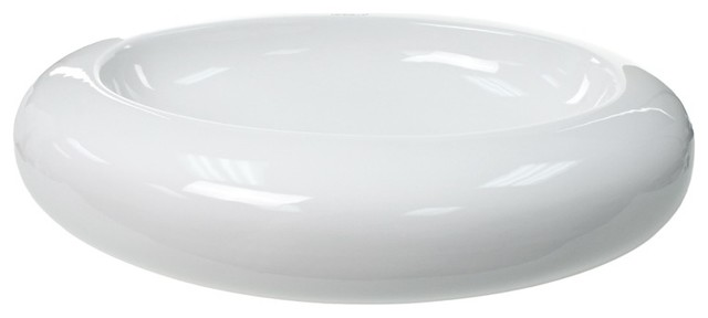 Above Counter Oval Shaped Ceramic Bathroom Sink.
