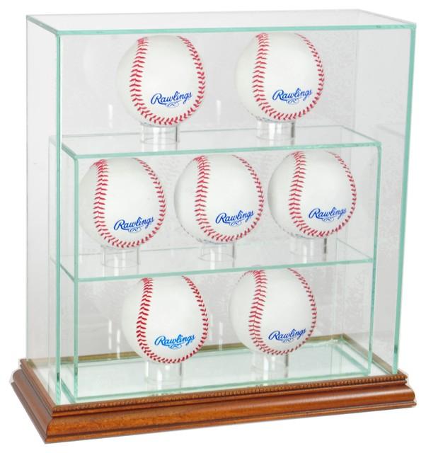 7 Upright Baseball Display Case, Walnut