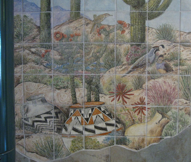 Sonoran desert pottery scene woodstove wall tile mural for Desert wall mural