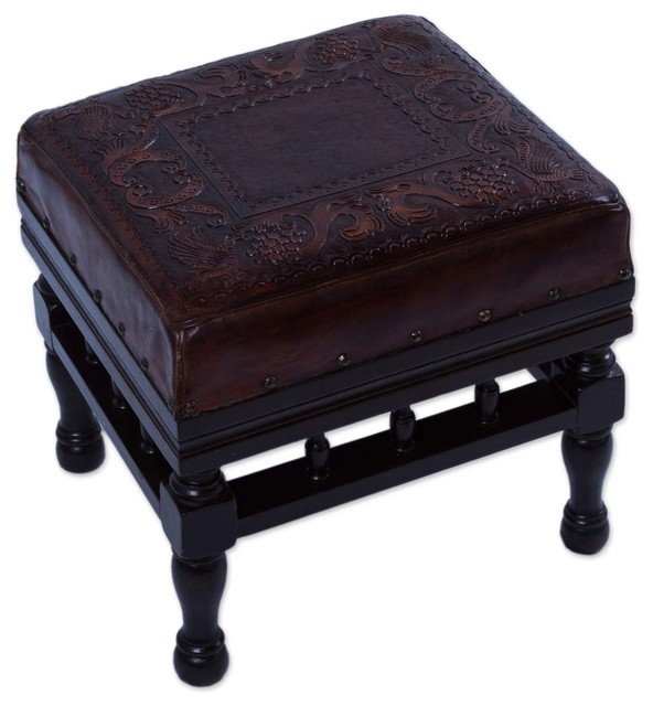 Astonishing Novica Birds Among The Vines Wood And Leather Stool Alphanode Cool Chair Designs And Ideas Alphanodeonline