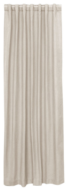"Unlined Curtain, Single Panel, Linen Talc, 50""x84""."