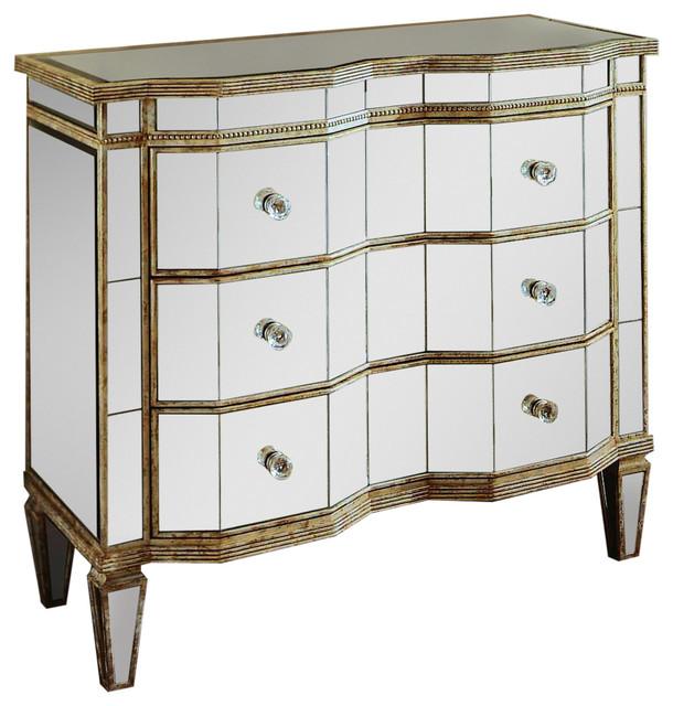 Sloane 3-Drawer Mirrored Dresser.