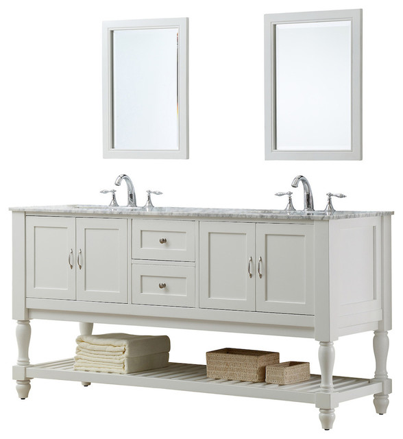 Belinda Double Vanity White Carrara Marble Top With Mirrors 70