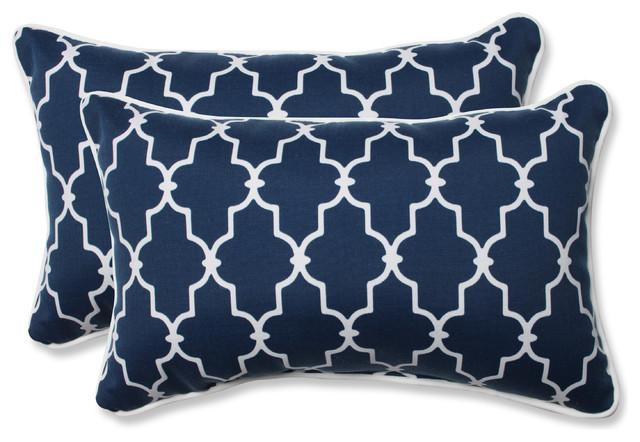 Pillow Perfect Garden Gate Navy Rectangular Outdoor Throw Pillows, Set Of 2  Mediterranean Outdoor