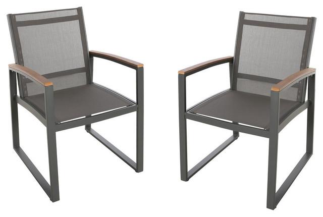 Astonishing Gdf Studio Aubrey Outdoor Mesh Dining Chairs With Aluminum Frame Gray Set Of 2 Inzonedesignstudio Interior Chair Design Inzonedesignstudiocom