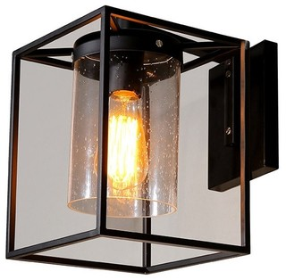 Wall Light Metal Box : Metal Box Wall Sconce Light, Matte Black - Industrial - Wall Sconces - by Lamps Next