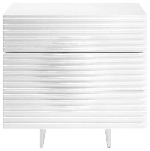 Casabianca Home Moon Dresser, High Gloss White Lacquer Finish