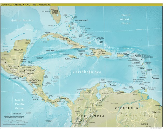 Central America Map, Physical, Peel & Stick Removable Wall Decal ...