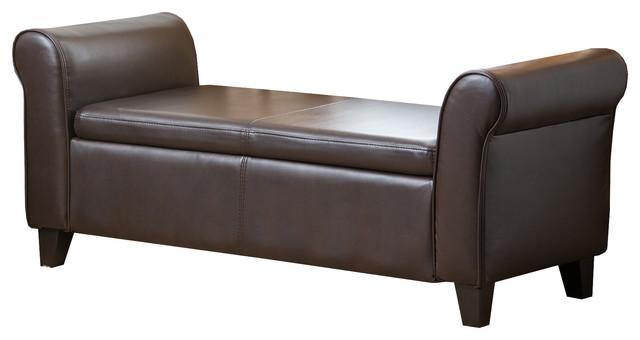 Wondrous Abbyson Living Hartford Leather Storage Ottoman Bench Dark Brown Machost Co Dining Chair Design Ideas Machostcouk