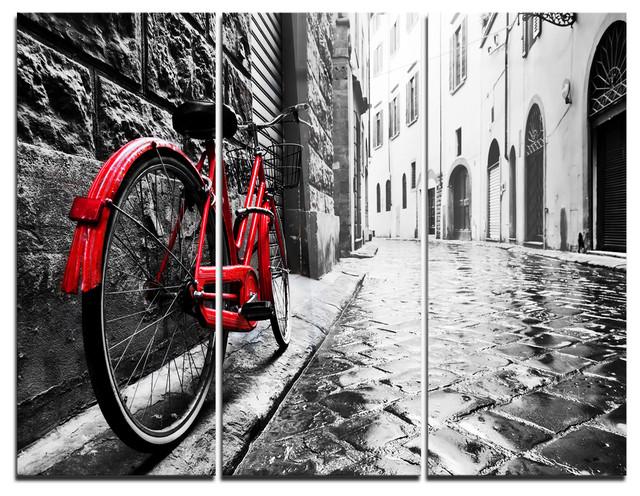 Retro Vintage Red Bike Photo Metal Wall Art, 3 Panels, 36x28.