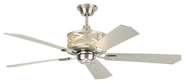 """Monte Carlo 54"""" Piper Brushed Steel Ceiling Fan."""