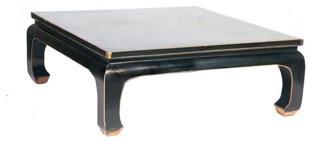 Wonderful Asian Square Wood Coffee Table   Black And Gold   $3,500 Est. Retail    $1,400