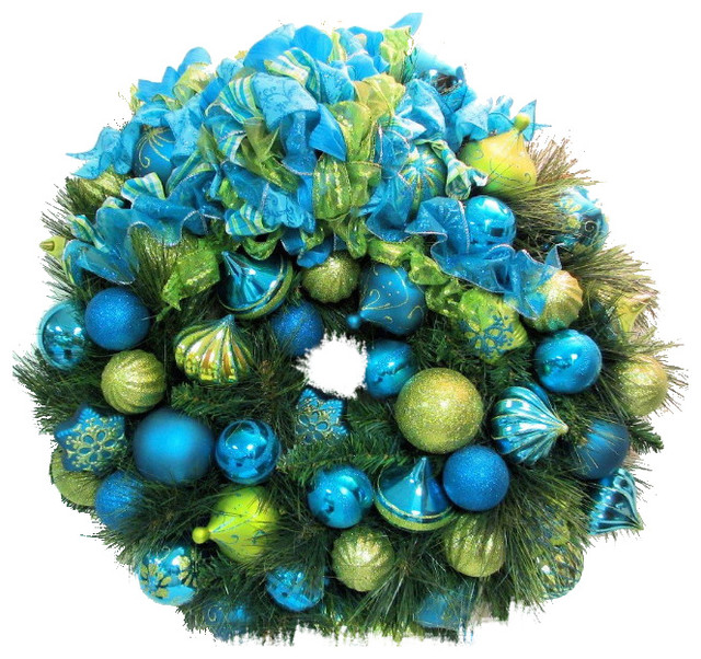 christmas holiday bright lime green turquoise blue wreath 27 - Lime Green And Blue Christmas Decorations
