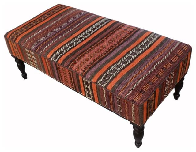 "Dorine Orange/gray Handmade Kilim Upholstered Settee, 48""x24""x19""."