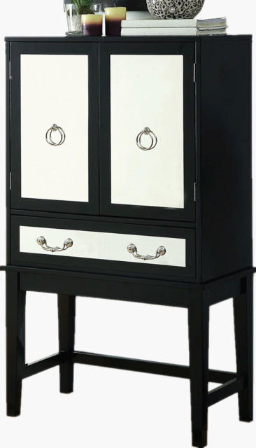 Adarn Inc Dining Storage Black Wood Cabinet With Wine Rack Drawer Mirrored Glass Panels