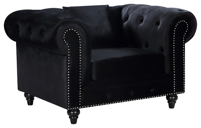 Chesterfield Velvet Chair Traditional Armchairs And Accent Chairs By Meridian Furniture