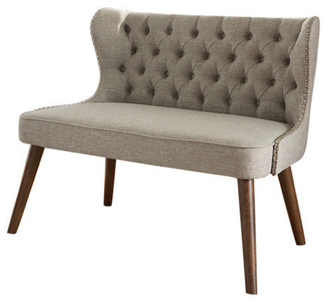 Fabric Upholstered Button-Tufting, Nail Heads Trim 2-Seater Loveseat Settee.