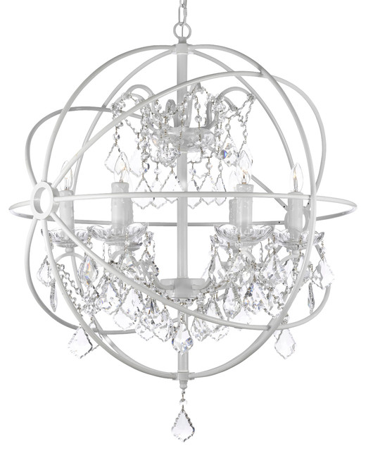 FoucaultS White Wrought Iron Orb Crystal Chandelier Fixture