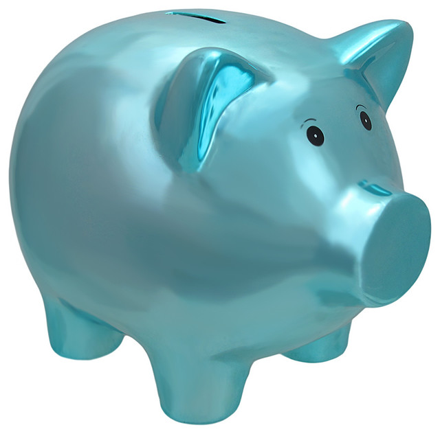 Metallic Blue Plated Ceramic Piggy Bank 8quot Piggy Banks  : piggy banks from www.houzz.com size 640 x 632 jpeg 52kB