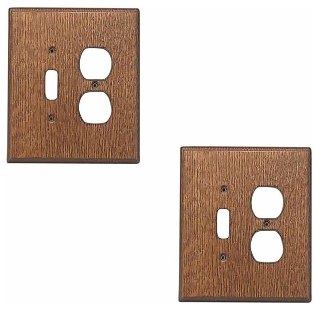 Switchplate oak toggle outlet transitional switch