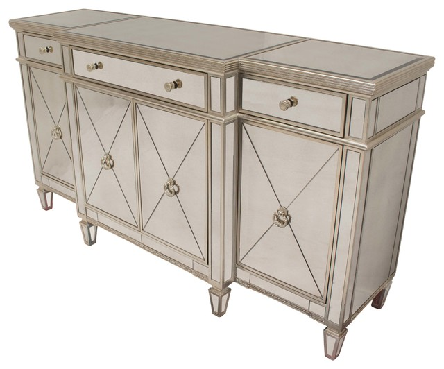 Dark Wood Mirrored Credenza : Borghese mirrored sideboard contemporary buffets and sideboards