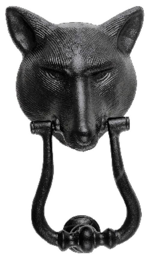 "Fox Head Door Knocker Black Cast Iron 8 3/4""x5 1/8"" W"