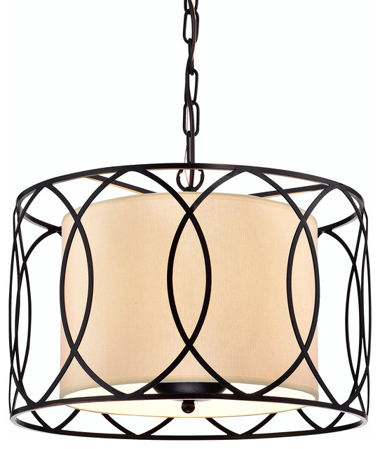 Drum Shade Chandelier With Diffuser. Rectangular Drum Shade ...