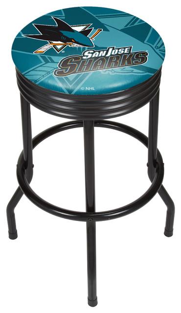 Swell Nhl Black Ribbed Bar Stool San Jose Sharks Ibusinesslaw Wood Chair Design Ideas Ibusinesslaworg
