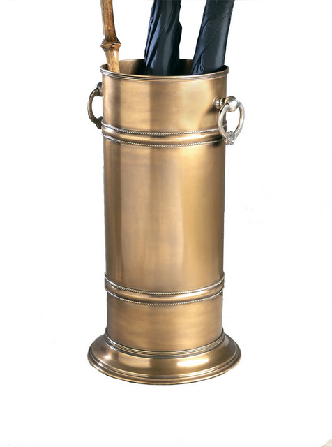 dessau home antique brass umbrella stand w/silver ring handles Antique Umbrella Stand