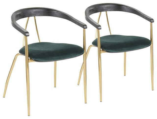 Vanessa Contemporary Chair Gold Metal/Green Velvet, Black Wood Accent, Set of 2