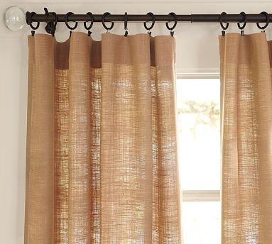Burlap Deep Pocket Drape Contemporary Curtains By