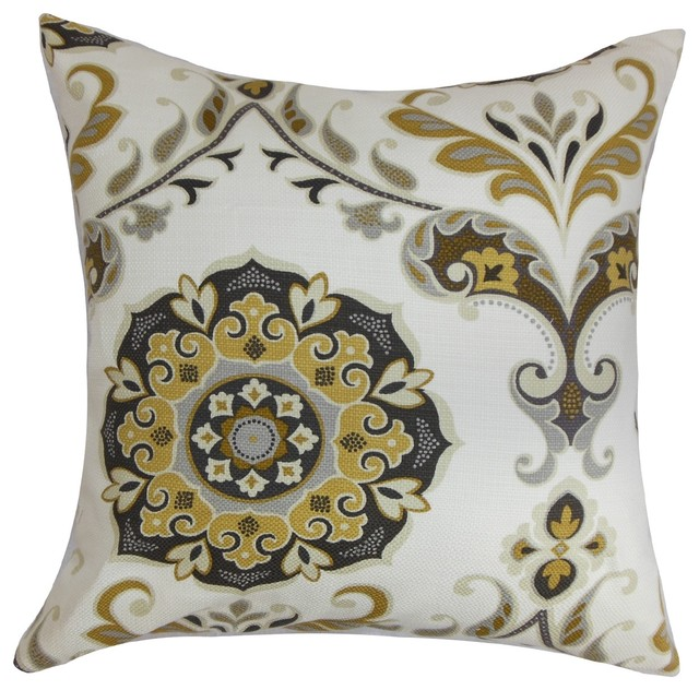 Orana floral pillow brown gray traditional decorative for Brown and gray throw pillows