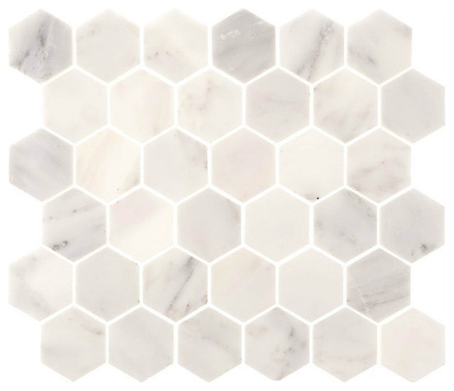 12 X12 Aspen White Marble Hexagon Tile Polished Finish