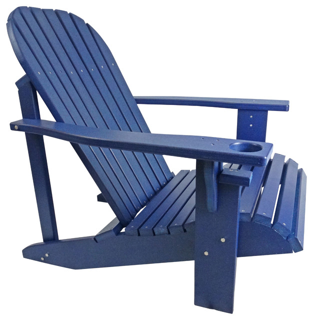 Poly Lumber Wide Classic Adirondack Chair, Deep Blue