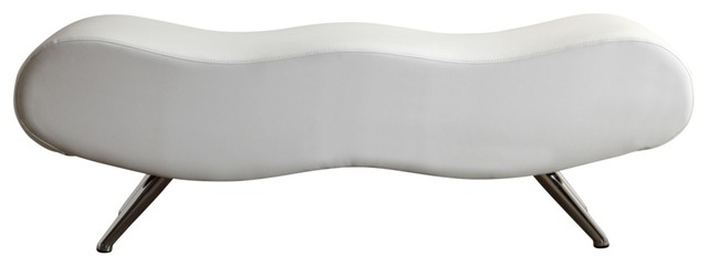 Ola Curved Faux Leather Bench, White.