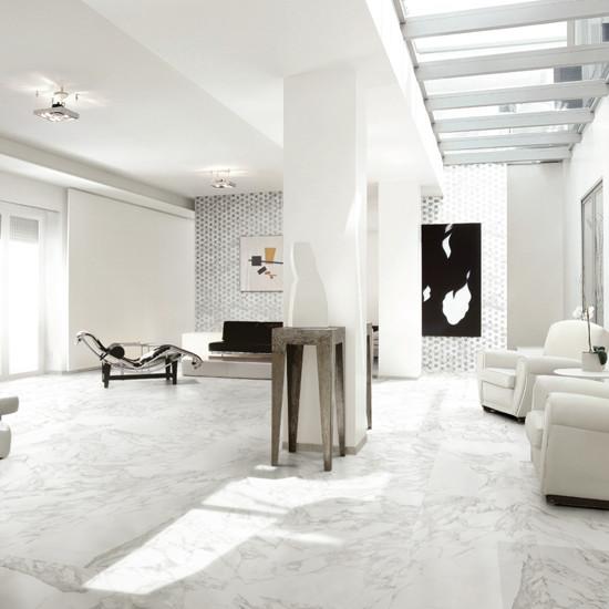 Porcelain Tile Living Room: Calacatta Glazed Porcelain Tile