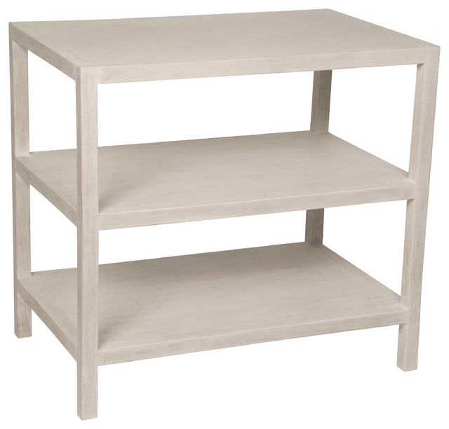 2 Shelf Side Table, White Wash Transitional Side Tables And