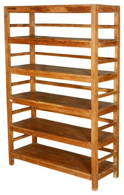 country reclaimed wood freestanding 5 shelf bookcase rustic rh houzz com wood free standing shelves wood free standing shelves