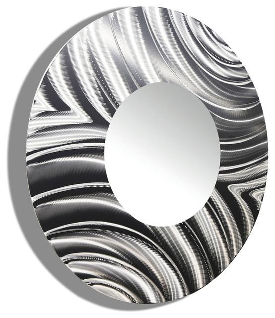 "Silver Metal Decorative Wall-Mounted Mirror by Jon Allen, XXL, Standard - 23"" Di"