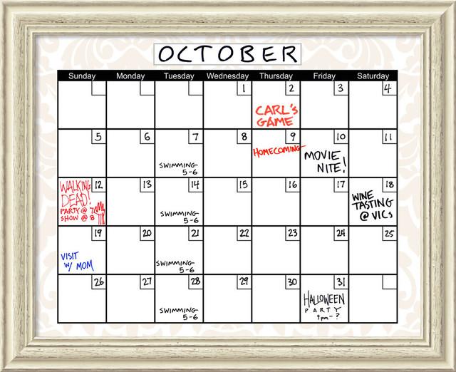 "Beige Damask Dry-Erase Board Calendar&x27; Framed Art Print 32""x26""."