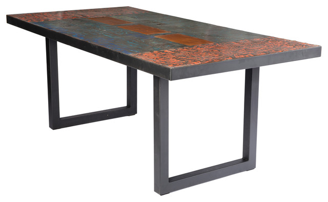Metal recycled oil drum dining room table industrial dining tables by aire furniture - Industrial kitchen tables ...