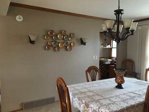Need Help With Wall Decor In Dining Room Walls Are SW Tony Taupe Hinckley Bolla Sconces Set Is Golden Oak 13x14 Feet