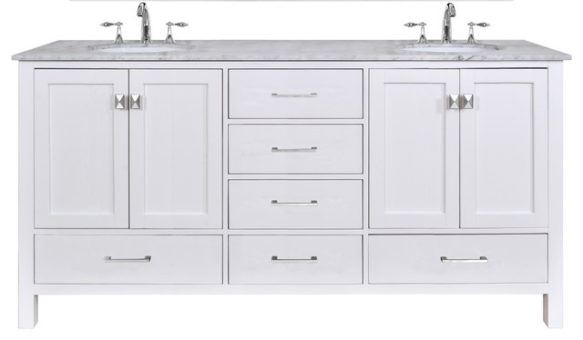 Malibu Double Sink Bathroom Vanity Pure White 72 Without Mirror