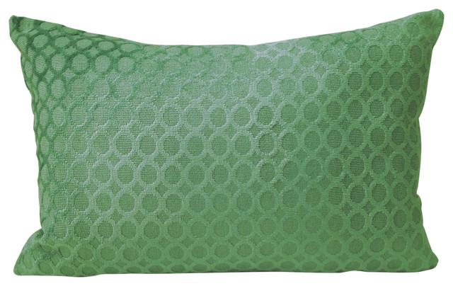 "Geo Circles Cut Velvet Lumbar Pillow Cover, 12"" X 16"""