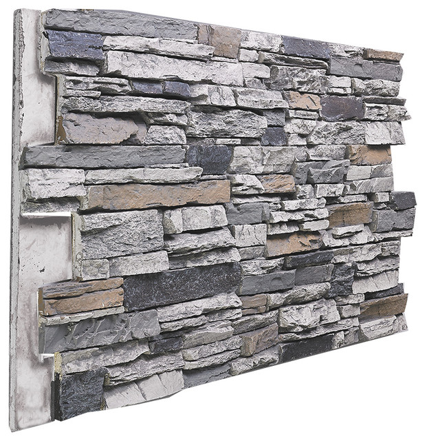 Deep stacked stone wall panel aspen traditional for Stone facade siding