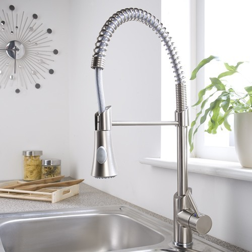 Exceptional Brushed Nickel Plated Pull Down Sprayer Kitchen Faucet Contemporary Kitchen  Faucets