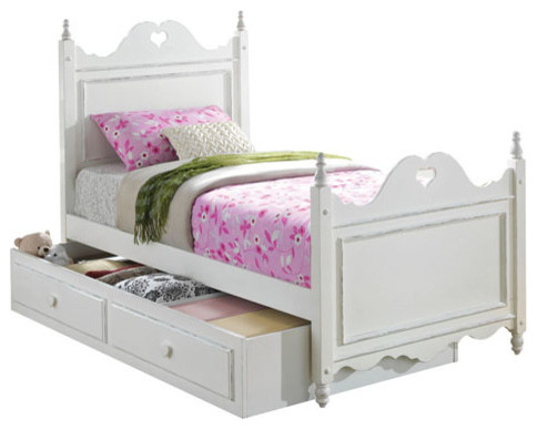 White youth kid four poster bed with drawer storage trundle farmhouse kids beds by adarn inc for Youth storage bedroom furniture